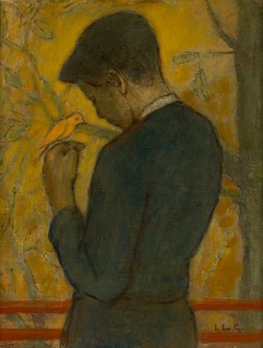 Jongen met vogel, Luc-Peter Crombé